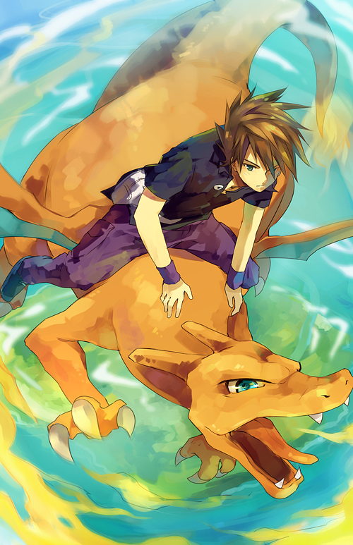 Tags: Anime, Nuriko-kun, Pokémon (Anime), Pokémon, Charizard, Green (Pokémon), Dragon Riding, Fanart From Pixiv, Pixiv, Fanart, Mobile Wallpaper
