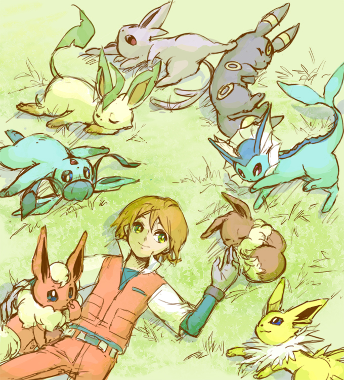 Tags: Anime, Rikovui, Pokémon (Anime), Pokémon, Vaporeon, Glaceon, Jolteon, Virgil, Leafeon, Flareon, Umbreon, Espeon, Eevee