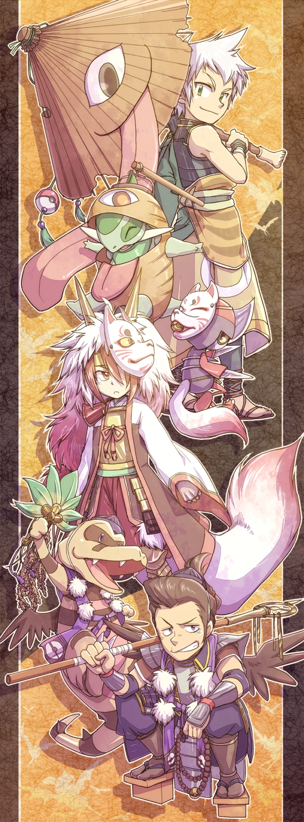 Tags: Anime, Pokémon + Nobunaga no Yabou, Pokémon, Pawniard, Ishida Mitsunari (Nobunaga's Ambition), Krokorok, Fukushima Masanori (Nobunaga's Ambition), Katou Kiyomasa (Nobunaga's Ambition), Axew, Pixiv, Fanart, Fanart From Pixiv, Pokémon Conquest