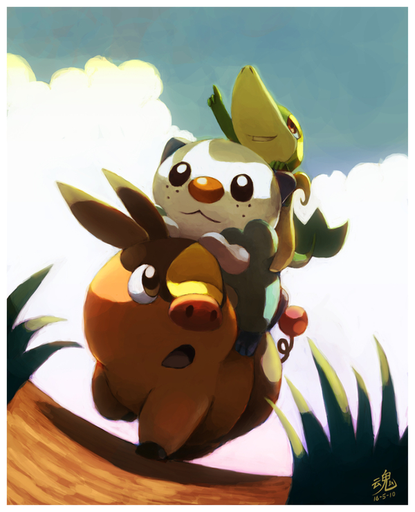 Tags: Anime, Ry-Spirit, Pokémon Black & White, Black and White 2, Pokémon, Snivy, Oshawott, Tepig, Fanart, deviantART, Fanart From DeviantART