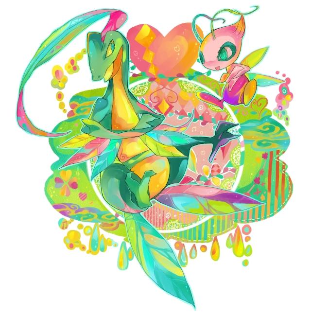 Tags: Anime, Chaloc Nana, Pokémon Fushigi no Dungeon, Pokémon, Grovyle, Celebi, Pixiv, PNG Conversion, Legendary Pokémon, Pokemon Mystery Dungeon