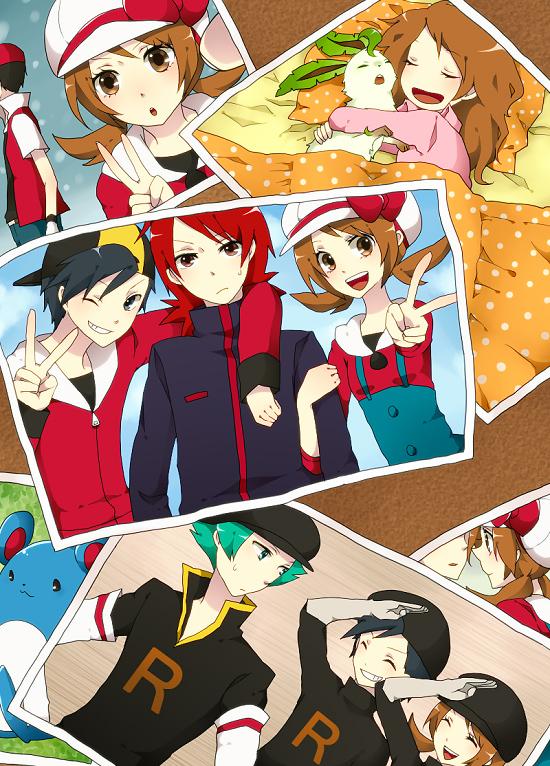 Tags: Anime, Monako, Pokémon Gold & Silver, Pokémon, Hibiki (Pokémon), Marill, Leafeon, Red (Pokémon), Silver (Pokémon), Lance (Pokémon), Kotone (Pokémon), Mobile Wallpaper