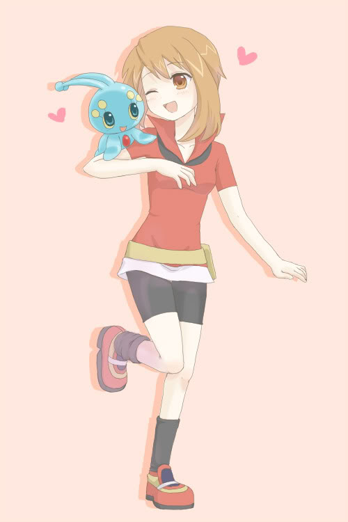 Tags: Anime, Pokémon Ranger and the Temple of the Sea, Pokémon, Manaphy, Haruka (Pokémon), Artist Request, Mobile Wallpaper, Legendary Pokémon