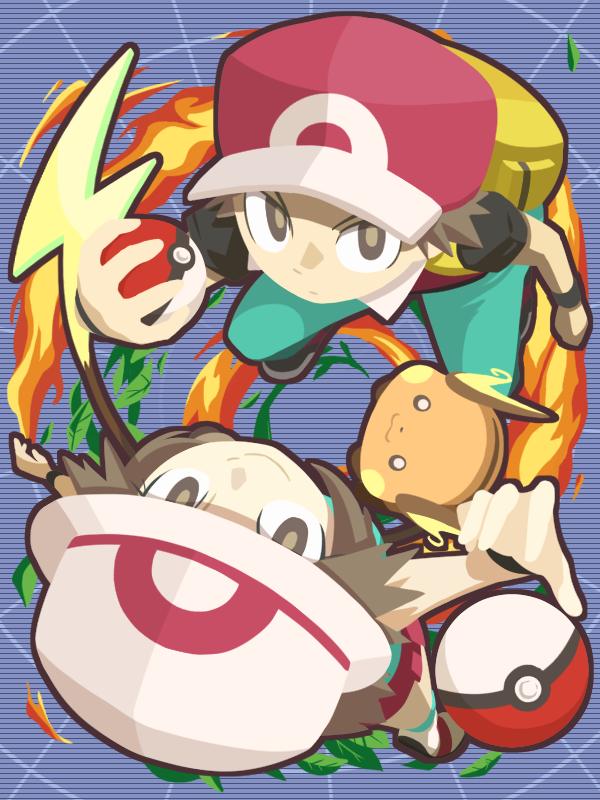 Tags: Anime, Pixiv Id 3414789, Pokémon Red & Green, Pokémon, Raichu, Leaf (Pokémon), Red (Pokémon), Wallpaper, Fanart, Pixiv, Fanart From Pixiv