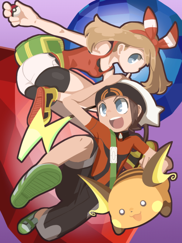 Tags: Anime, Pixiv Id 3414789, Pokémon Ruby & Sapphire, Pokémon, Yuuki (Pokémon), Raichu, Haruka (Pokémon), Fanart From Pixiv, Wallpaper, Fanart, Pixiv