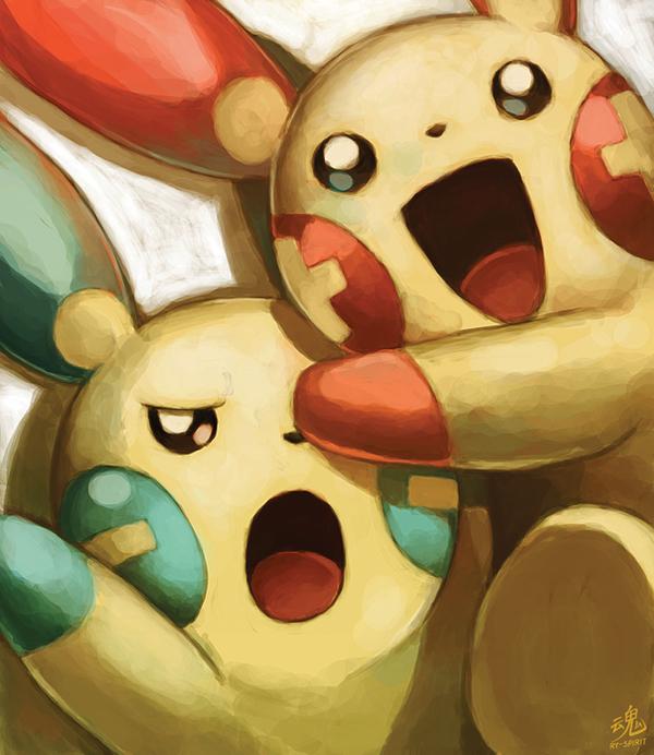 Tags: Anime, Ry-Spirit, Pokémon Ruby & Sapphire, Pokémon, Minun, Plusle, deviantART, Revision, Fanart From DeviantART, Fanart