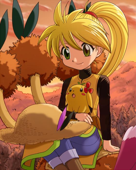 Tags: Anime, Soara, Pokémon SPECIAL, Pokémon, Dodrio, Yellow (Pokémon Special), Pikachu, Pine Tree, Orange Outerwear, Fanart, PNG Conversion, Pokémon Adventures