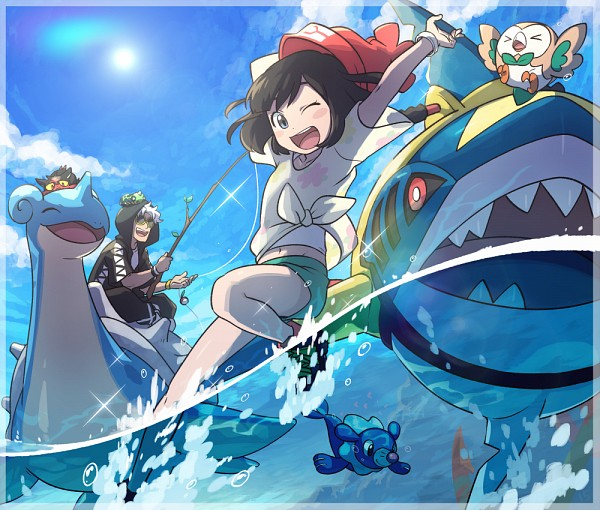 Tags: Anime, Toujima Juugo, Pokémon Sun & Moon, Pokémon, Popplio, Lapras, Litten