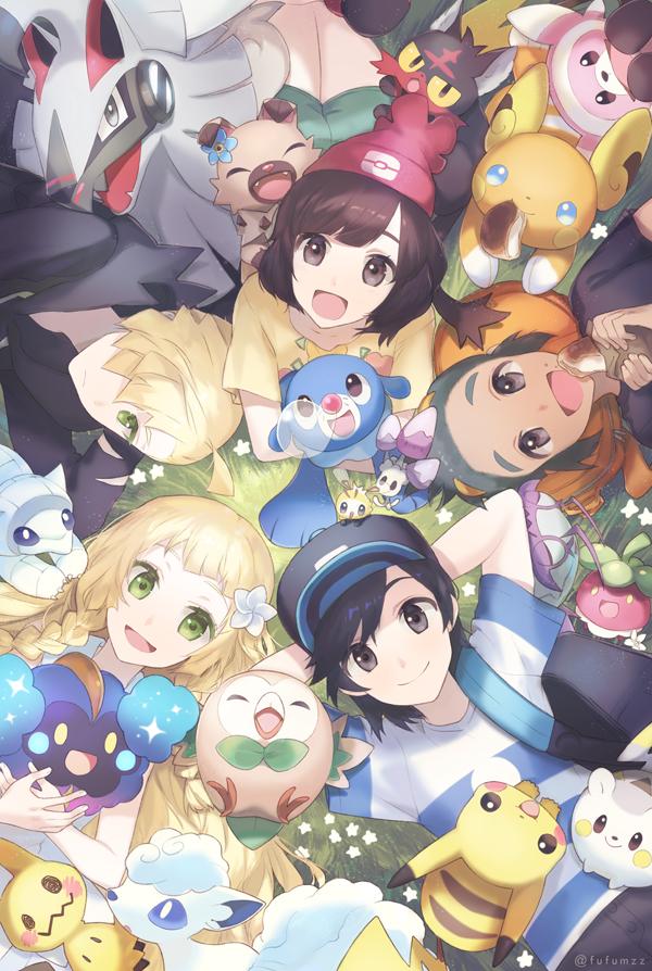 Tags: Anime, Melso, Pokémon Sun & Moon, Pokémon, Sandshrew, Hau (Pokémon), Stufful, Rowlet, Togedemaru, Gladion, Raichu, You (Pokémon), Cutiefly