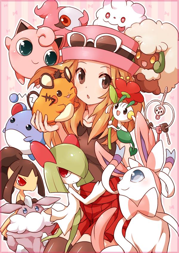 Tags: Anime, Pixiv Id 4790965, Pokémon X & Y, Pokémon, Kirlia, Serena (Pokémon), Marill, Dedenne, Klefki, Jigglypuff, Swirlix, Mawile, Floette