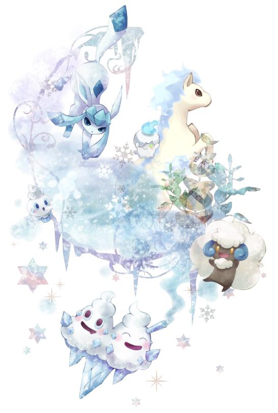 Tags: Anime, Kotorinote, Pokémon, Litwick, Vanillite, Ponyta, Whimsicott, Glaceon, Vanilluxe, Vanillish, Shiny Pokémon, Fanart, Mobile Wallpaper