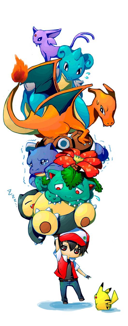 Tags: Anime, Rikovui, Pokémon Red & Green, Pokémon, Charizard, Red (Pokémon), Snorlax, Lapras, Blastoise, Espeon, Venusaur, Pikachu, Zzz
