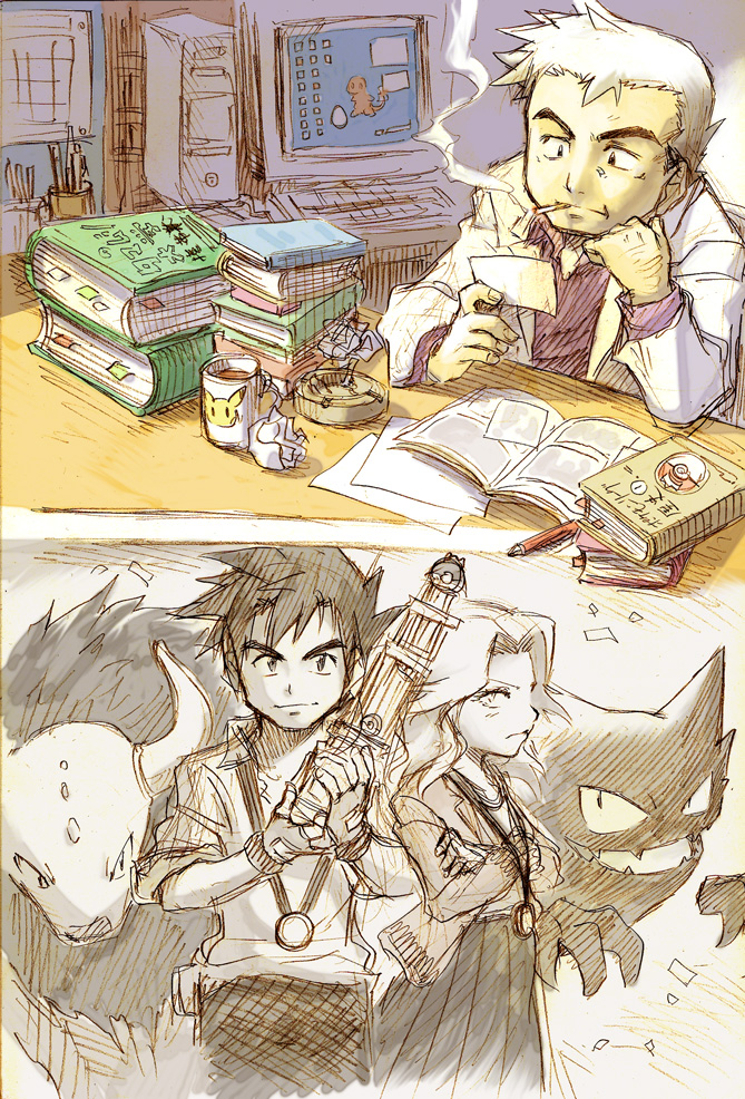 Tags: Anime, Pixiv Id 411252, Pokémon, Haunter, Charmander, Tauros, Pikachu, Kikuko (Pokémon), Ookido Yukinari, Medal, Trophy, Mobile Wallpaper