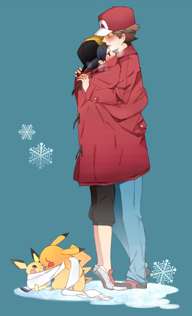Tags: Anime, tri-bby, Pokémon, Hibiki (Pokémon), Pikachu, Fire (Pokémon), Pichu, Standing On Tip Toes, Top Coat, Fanart From Pixiv, Pixiv, Mobile Wallpaper, Fanart