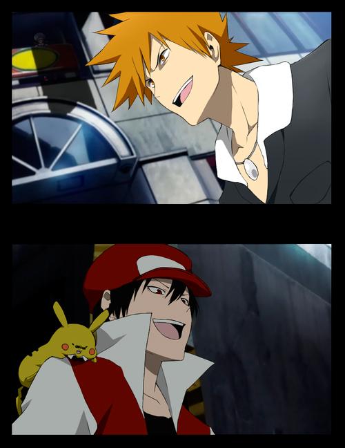 Tags: Anime, Pixiv Id 688734, Pokémon, Pikachu, Green (Pokémon), Red (Pokémon), Kotone (Pokémon), DURARARA!! (Parody)