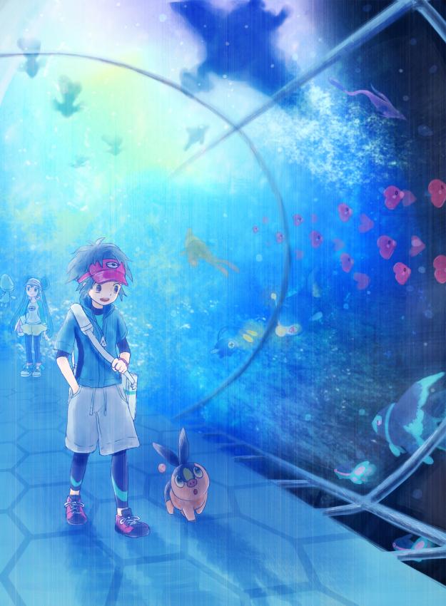 Tags: Anime, Pixiv Id 1311732, Pokémon, Elgyem, Lumineon, Lanturn, Tepig, Chinchou, Mei (Pokémon), Finneon, Luvdisc, Kyouhei, Aquarium