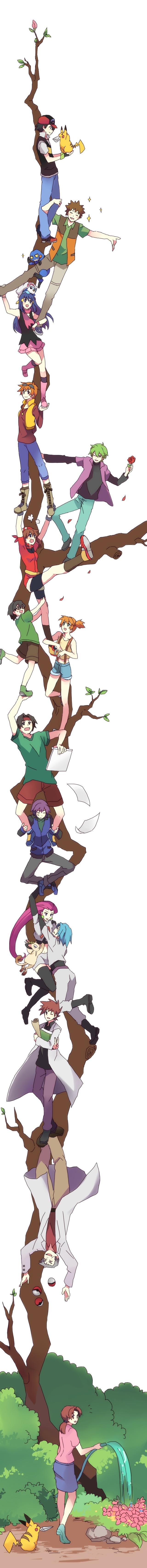 Tags: Anime, Pixiv Id 342976, Pokémon, Pikachu, Ookido Yukinari, Masato (Pokémon), Kasumi (Pokémon), Shinji (Pokémon), Green (Pokémon), Takeshi (Pokémon), Shuu (Pokémon), Nozomi (Pokémon), Haruka (Pokémon)