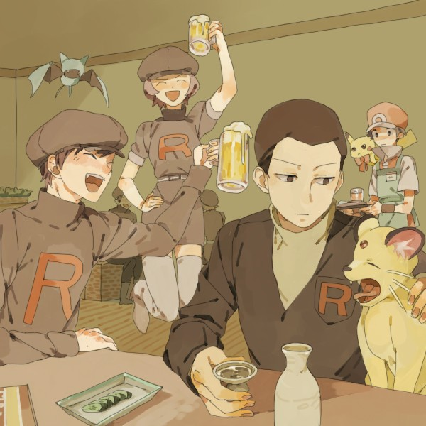Tags: Anime, Pixiv Id 952807, Pokémon, Pikachu, Team Rocket Underling (Female), Sakaki (Pokémon), Team Rocket Underling (Male), Persian, Fire (Pokémon), Zubat, Gray Legwear, Fanart From Pixiv, Pixiv