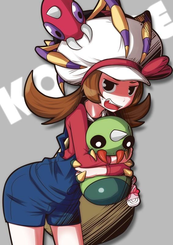 Tags: Anime, Pixiv Id 708946, Pokémon, Spinarak, Kotone (Pokémon), Ariados, Cabbie Hat, Mobile Wallpaper