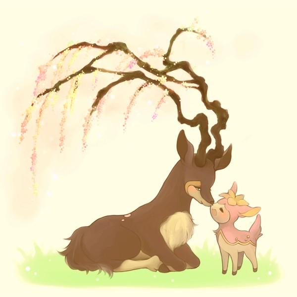 Tags: Anime, Pixiv Id 135335, Pokémon, Sawsbuck, Deerling, Deer, Spring, Fanart From Pixiv, Fanart, Pixiv