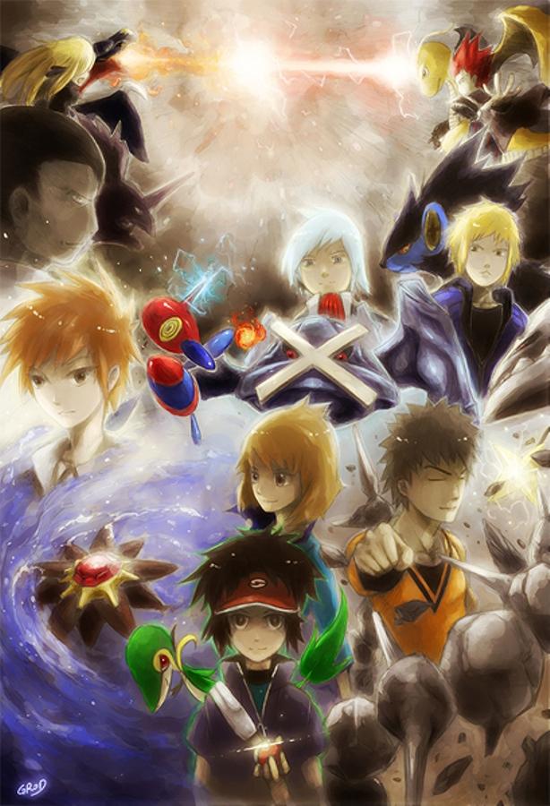 Tags: Anime, Pokémon, Porygon-z, Garchomp, Steelix, Metagross, Starmie, Luxray, Tsuwabuki Daigo, Wataru (Pokémon), Snivy, Shirona (Pokémon), Kyouhei