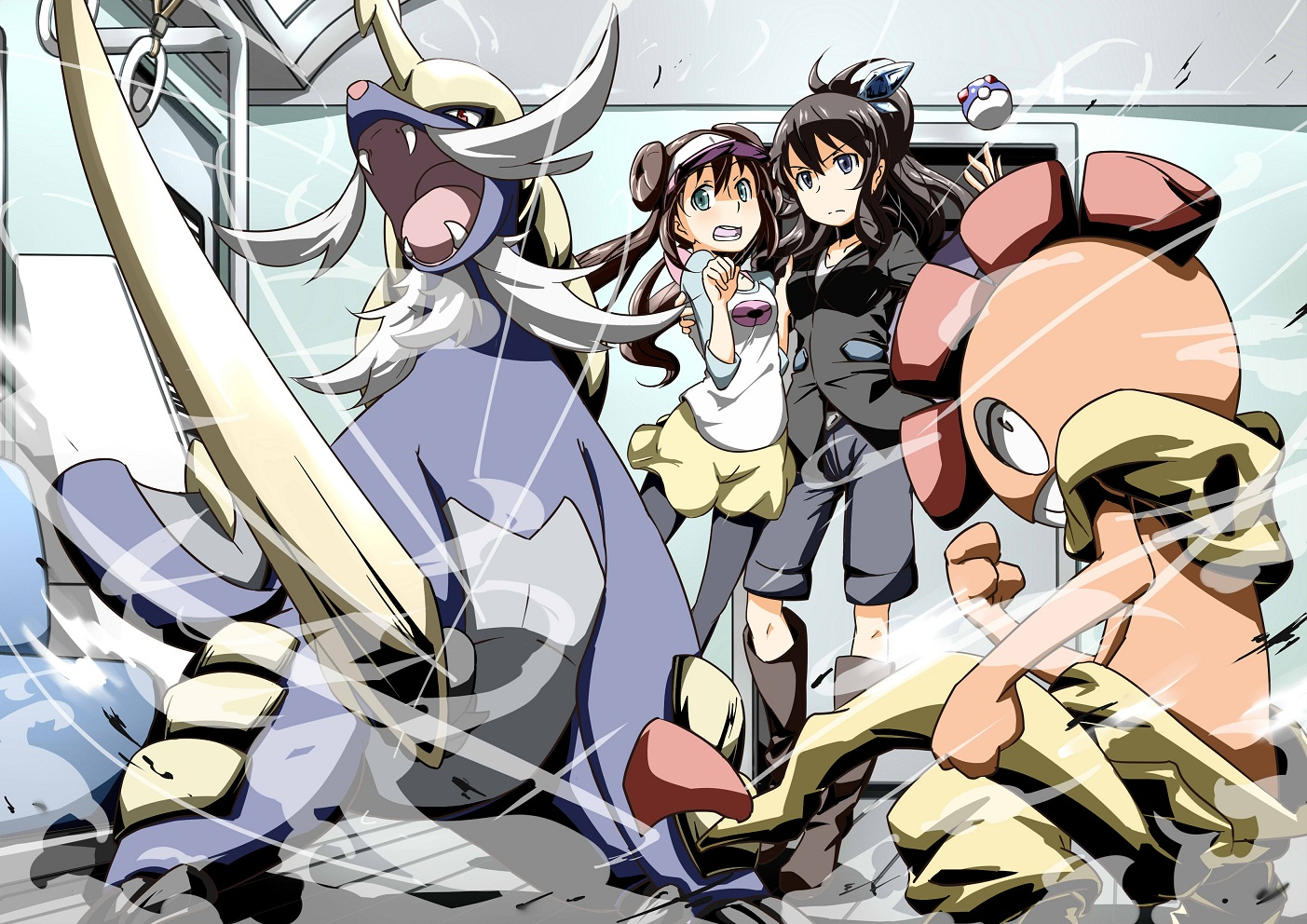 Tags: Pokémon, Touko (Pokémon), Samurott, Scrafty, Mei (Pokémon), Pixiv Id 28037509, Yuuichi (Reductionblack)