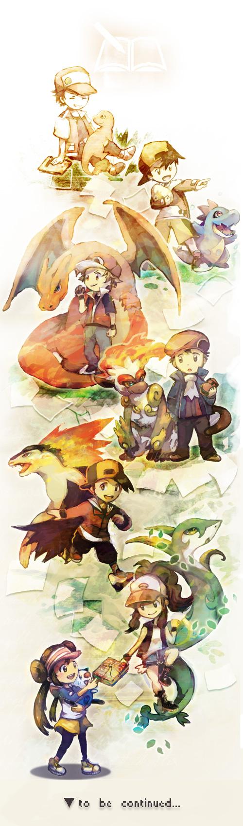 Tags: Anime, Sin Hitonatsu, Pokémon, Typhlosion, Charmander, Touko (Pokémon), Charizard, Infernape, Kouki (Pokémon), Mei (Pokémon), Red (Pokémon), Oshawott, Croconaw