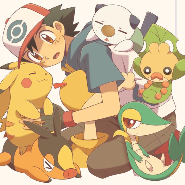 Tags: Anime, Cyaneko, Pokémon, Scraggy, Snivy, Satoshi (Pokémon), Oshawott, Pikachu, Tepig, Scrafty, Sewaddle, Fanart, Pixiv