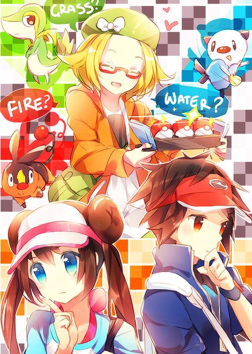 Tags: Anime, Namie-kun, Black and White 2, Pokémon, Tepig, Mei (Pokémon), Kyouhei, Snivy, Bel (Pokémon), Oshawott, Fanart, Fanart From Pixiv, Mobile Wallpaper