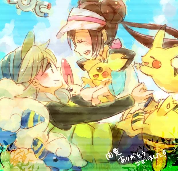 Tags: Anime, Pixiv Id 1576118, Pokémon, Plusle, Pikachu, Tetsu (Pokémon), Elekid, Mei (Pokémon), Pichu, Mareep, Magnemite, Pixiv, Fanart