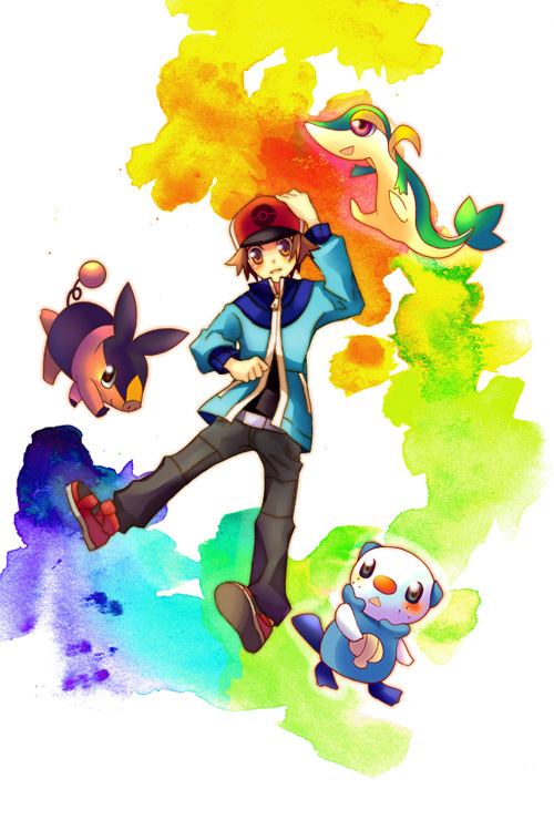Tags: Anime, Pixiv Id 945535, Pokémon, Snivy, Oshawott, Tepig, Touya (Pokémon), Fanart, Mobile Wallpaper, Pixiv, Fanart From Pixiv
