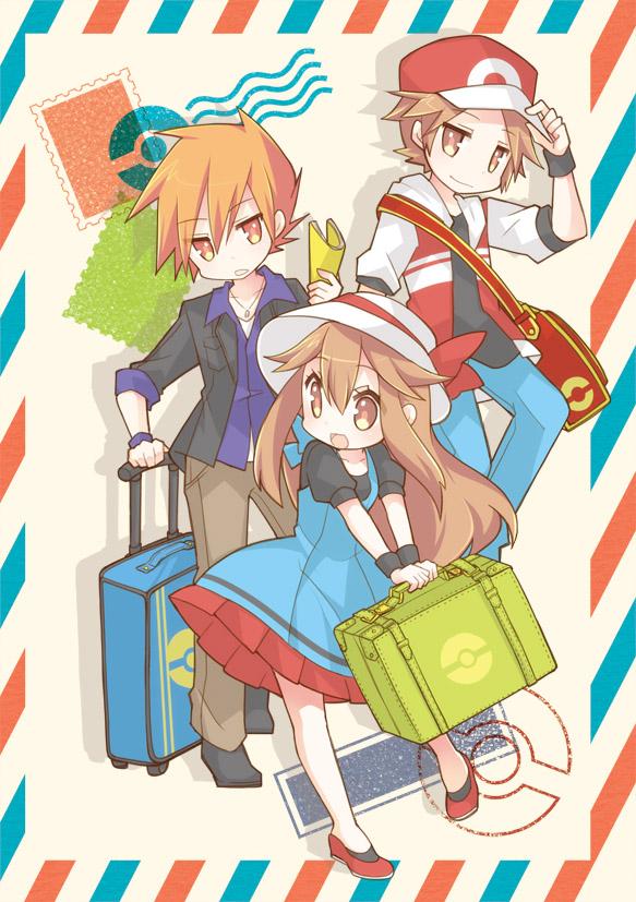 Tags: Anime, Aruya, Pokémon, Leaf (Pokémon), Red (Pokémon), Fire (Pokémon), Green (Pokémon), Mobile Wallpaper