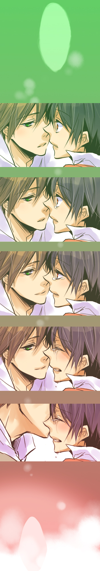 Tags: Anime, Mogmahiru, Pokémon, Green (Pokémon), Red (Pokémon), Comfort, Kiss on the Head, Fanart, Pixiv