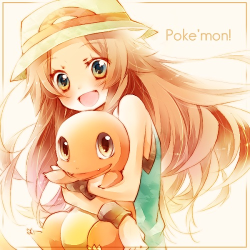 Tags: Anime, Amamiya Kabosu, Pokémon, Blue (Pokémon), Charmander, Hugging Animal, Brown Background