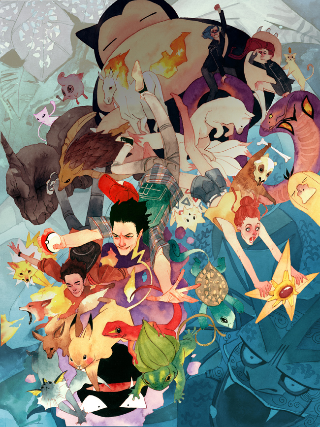 Tags: Anime, Pokémon, Onix, Psyduck, Squirtle, Arbok, Flareon, Bulbasaur, Sandslash, Meowth, Mew, Kojirou (Pokémon), Kasumi (Pokémon)