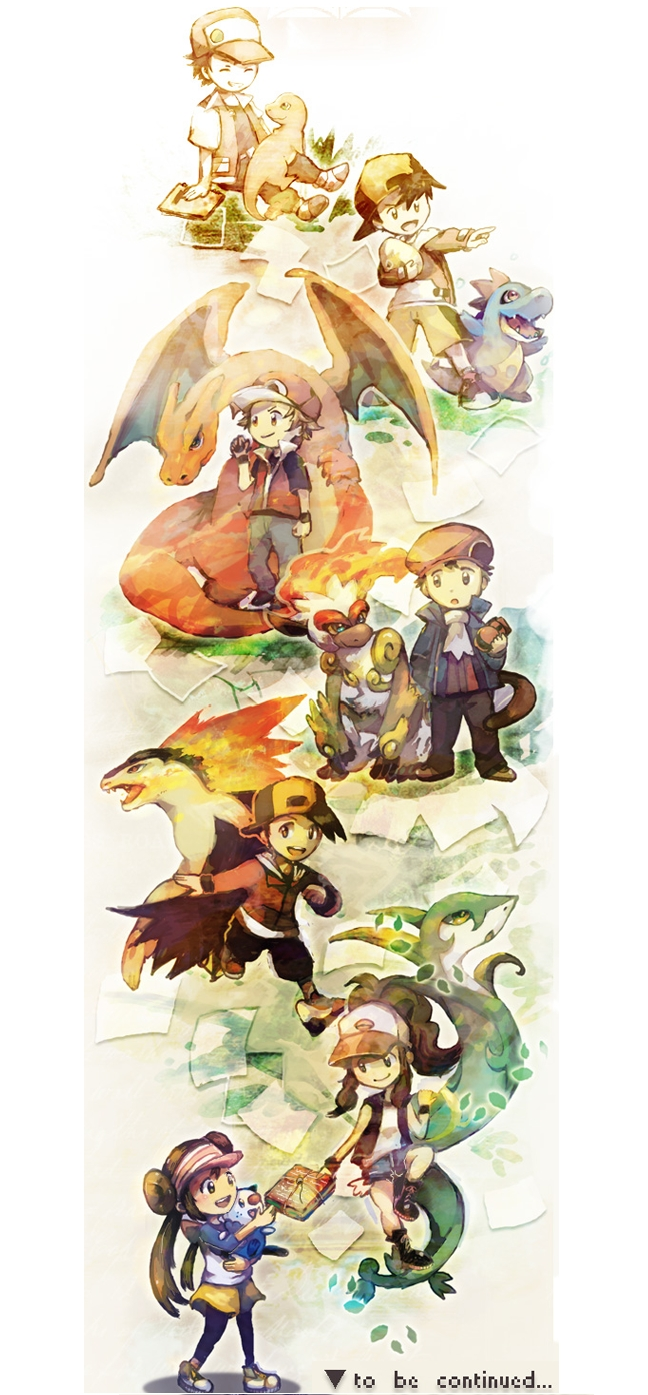 Tags: Anime, Pokémon, Serperior, Kouki (Pokémon), Mei (Pokémon), Touko (Pokémon), Red (Pokémon), Oshawott, Infernape, Hibiki (Pokémon), Fire (Pokémon), Typhlosion, Charmander