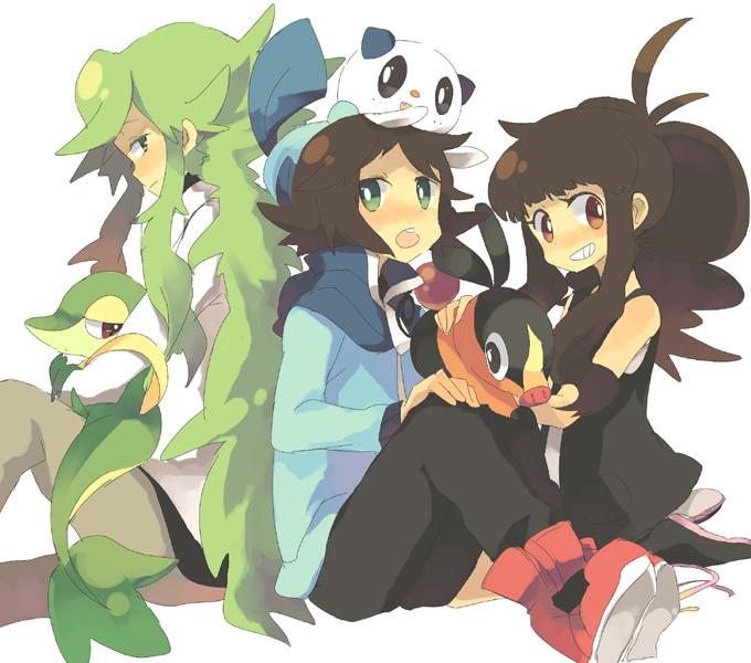 Tags: Anime, satori (サトリ), Pokémon, Touko (Pokémon), Snivy, Oshawott, Tepig, Touya (Pokémon), N (Pokémon), Pixiv, Fanart, Fanart From Pixiv