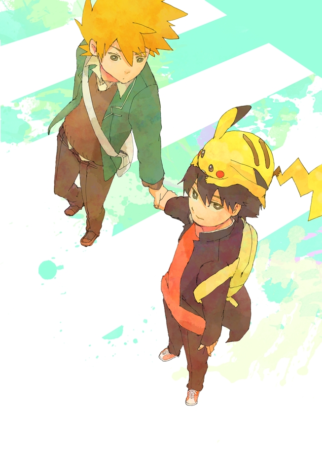 Tags: Anime, Pixiv Id 238469, Pokémon Red & Green, Pokémon, Green (Pokémon), Red (Pokémon), Pikachu, Fanart, Mobile Wallpaper, Pixiv, ReGre