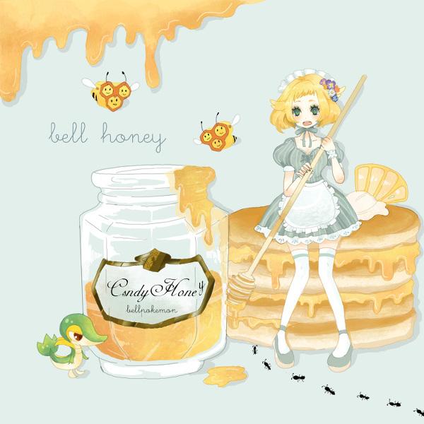 Tags: Anime, Sorako, Pokémon, Combee, Bel (Pokémon), Snivy, Pancakes, Honey, Honey Jar, Ants