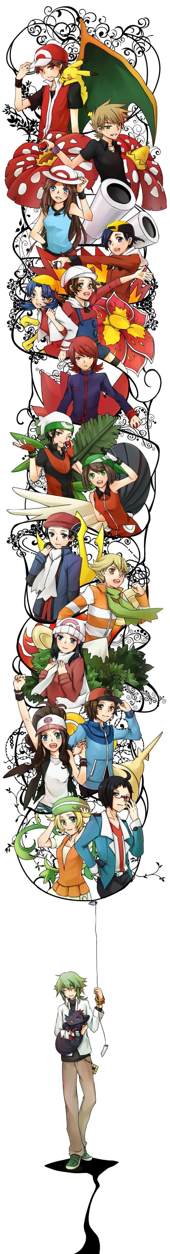 Tags: Anime, Pixiv Id 660368, Pokémon, Red (Pokémon), Cheren (Pokémon), Haruka (Pokémon), Kouki (Pokémon), Zorua, N (Pokémon), Hikari (Pokémon), Green (Pokémon), Silver (Pokémon), Touko (Pokémon)