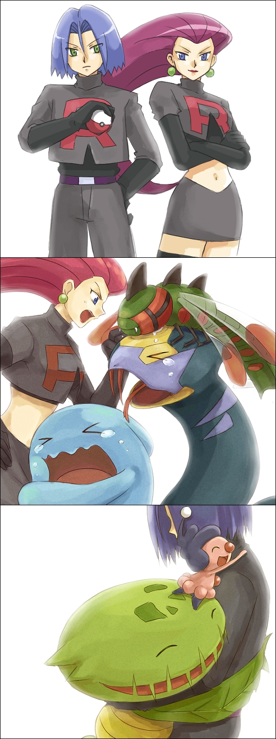 Tags: Anime, Usao (313131), Pokémon, Mime Jr., Carnivine, Wobbuffet, Kojirou (Pokémon), Musashi (Pokémon), Yanmega, Seviper