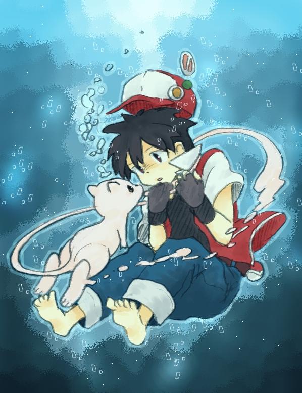Tags: Anime, Pixiv Id 1072186, Pokémon, Red (Pokémon), Mew, Legendary Pokémon