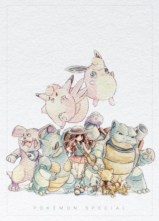 Tags: Anime, Ayaori (Merry Widow), Pokémon SPECIAL, Pokémon, Nidoking, Leaf (Pokémon), Meta-chan, Clefable, Horsea, Nidoqueen, Ditto, Abra, Wigglytuff