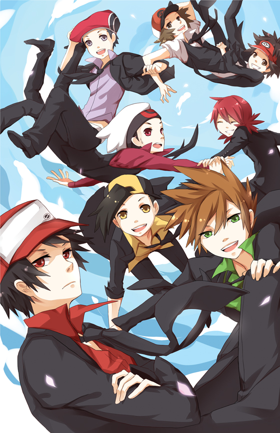 Tags: Anime, Zearyu, Pokémon, Touya (Pokémon), Silver (Pokémon), Kyouhei, Hibiki (Pokémon), Yuuki (Pokémon), Green (Pokémon), Red (Pokémon), Blank Stare, Mobile Wallpaper