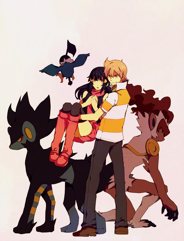 Tags: Anime, Yuuichi Bobobo, Pokémon, Infernape, Jun (Pokémon), Luxray, Hikari (Pokémon), Chatot