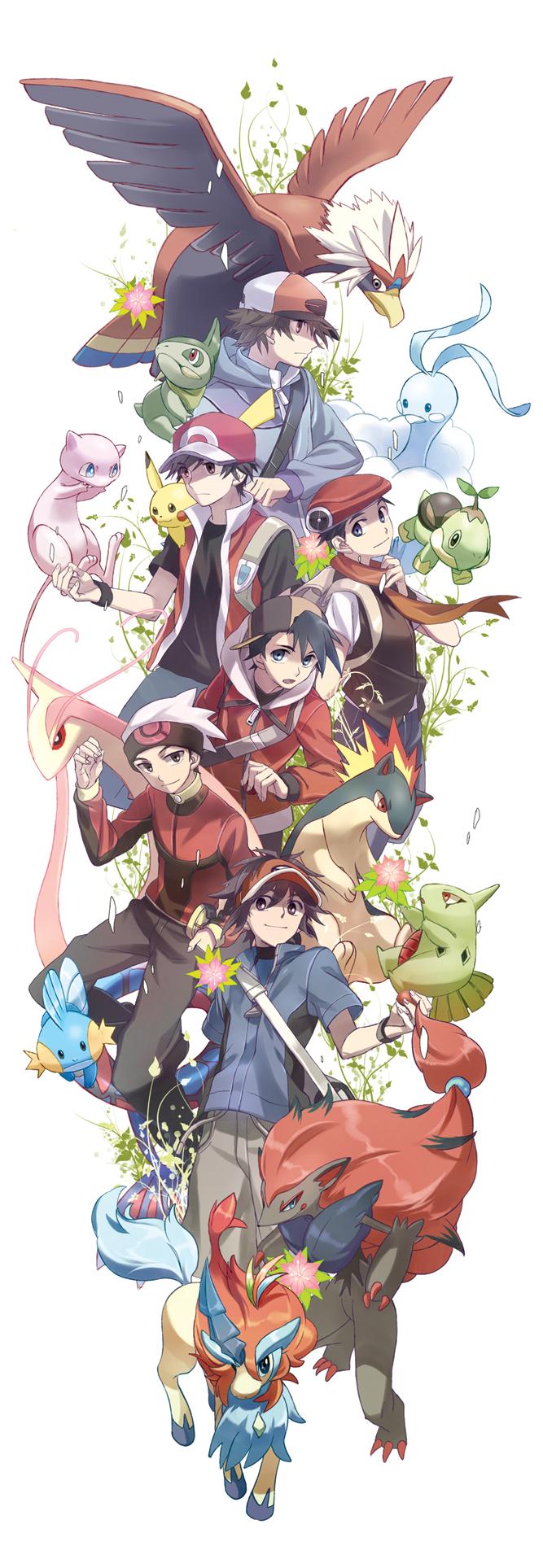 Tags: Anime, Msmoderato, Pokémon, Mudkip, Larvitar, Touya (Pokémon), Kouki (Pokémon), Mew, Altaria, Red (Pokémon), Kyouhei, Pikachu, Quilava