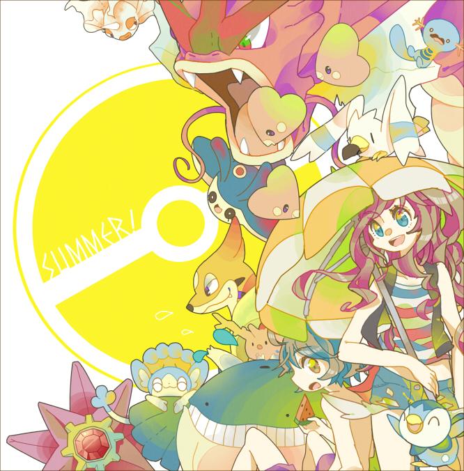 Tags: Anime, Pixiv Id 1481702, Pokémon, Piplup, Goldeen, Starmie, Panpour, Touko (Pokémon), Mantyke, Corsola, Gyarados, Floatzel, Wooper