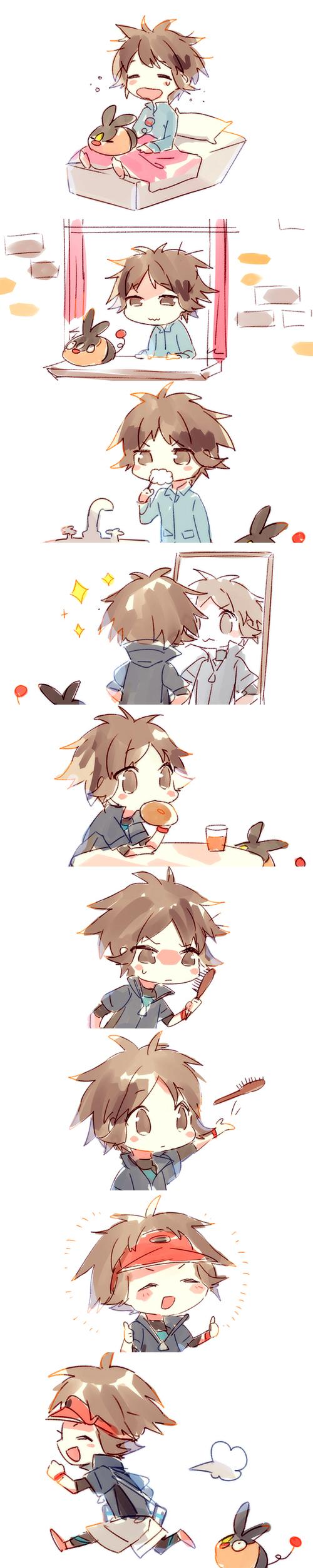Tags: Anime, Namie-kun, Pokémon, Kyouhei, Tepig, Breakfast, Brush, Morning, Toothbrushing
