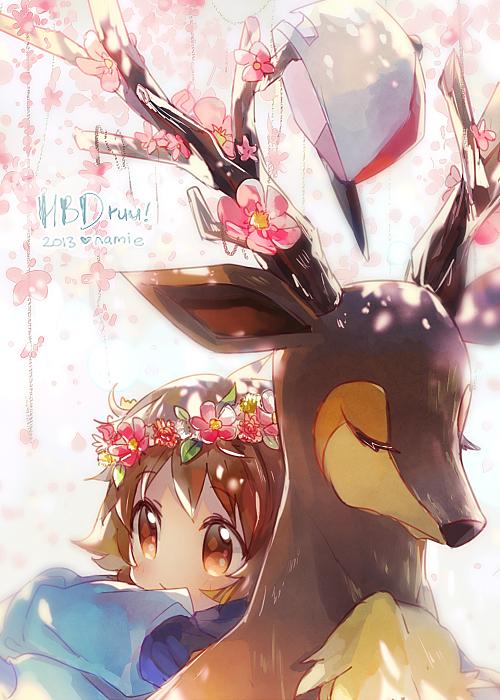Tags: Anime, Namie-kun, Pokémon, Sawsbuck, Touya (Pokémon), Deer, Mobile Wallpaper, Tumblr, Fanart