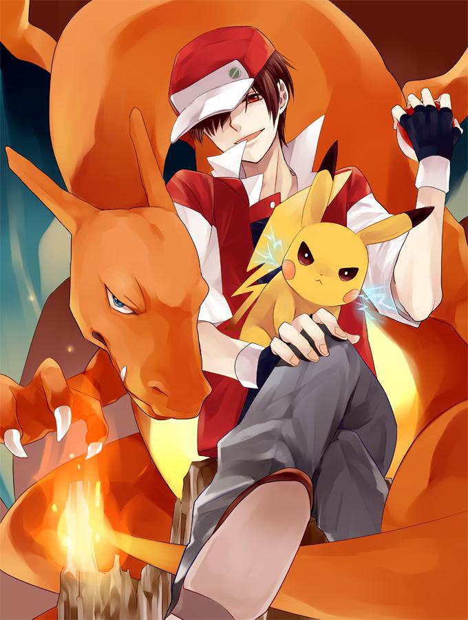 Tags: Anime, Pokémon, Pikachu, Charizard, Red (Pokémon)